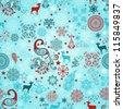vector seamless winter pattern with stylized peacocks, deers, stars, and snowflakes - stock vector