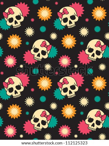 vector seamless with stars and skulls - stock vector