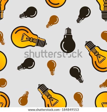 Vector seamless yellow lamp pattern. Eps10 - stock vector