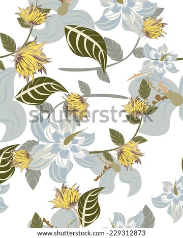 Vector Seamples Floral Pattern - stock vector