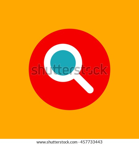 Vector search button. Flat magnifier icon. Loupe pictogram, symbol. Magnifying glass logo.  - stock vector