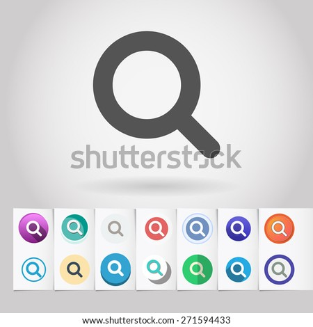 Vector search lens icon and big set of round flat web mobile buttons on paper background - stock vector