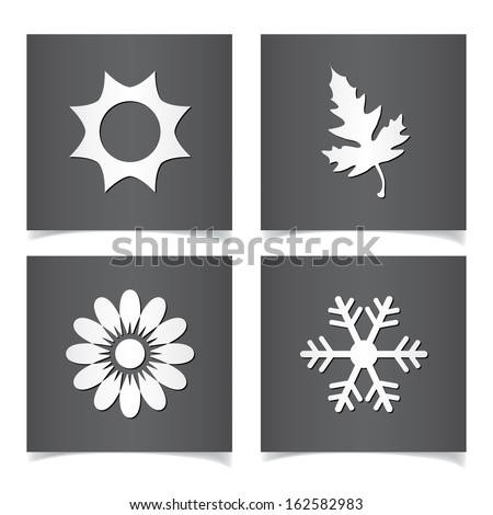 Vector season icons set. - stock vector