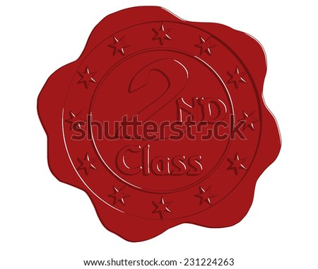Vector Second Class Red Wax Seal with Stars - stock vector