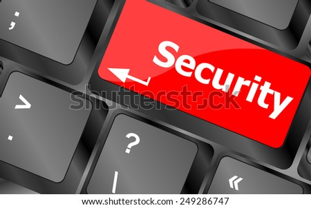 vector security button on the keyboard key, business concept - stock vector