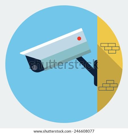 Vector security camera icon  - stock vector