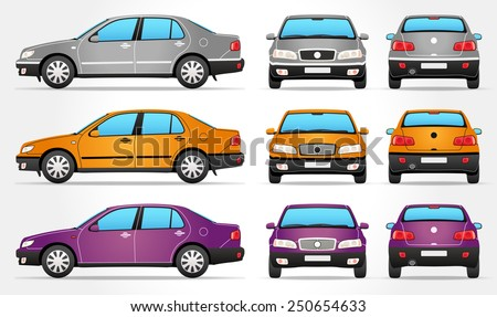 Vector Sedan Car - Side - Front - Rear view - stock vector