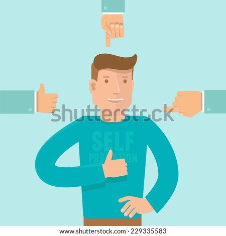 Vector self promotion concept in flat style - man showing like sign and business hands pointing at him - stock vector