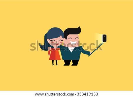 vector selfie couple - stock vector