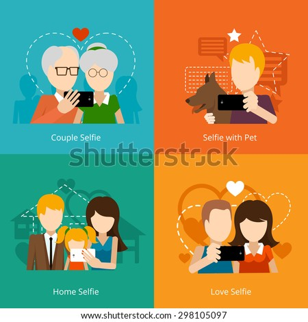 Vector selfie design concepts. Creative people, mobile camera phone. Vector illustration - stock vector