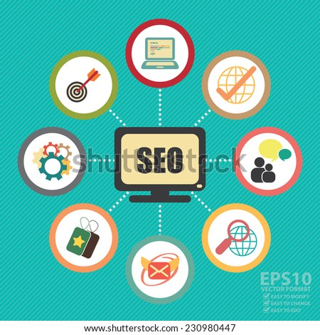 Vector : SEO, Search Engine Optimization Concept With Group of Social Media or Social Network Icon - stock vector