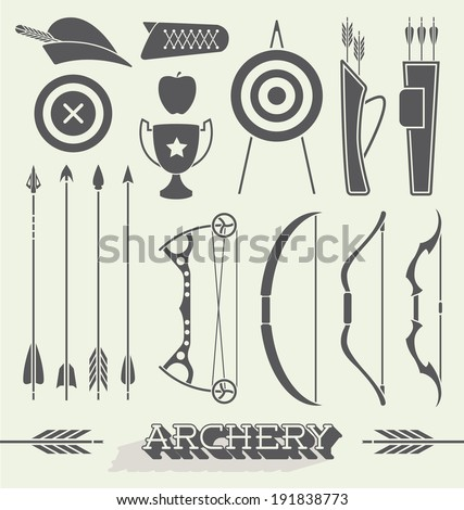 Vector Set: Archery Icons and Objects - stock vector