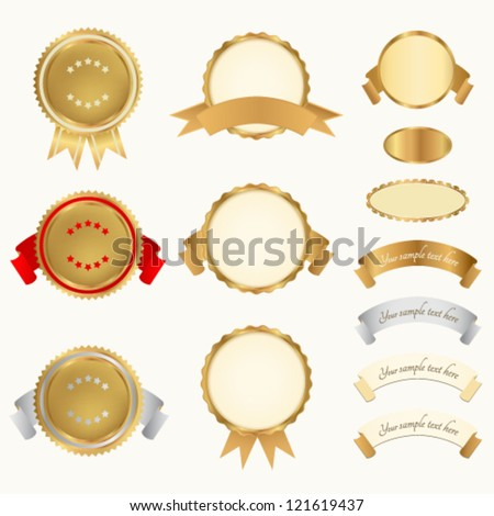 Vector set: Awards, Insignia, Badge. For certificate, diploma. Golden medals with red ribbons (sign of winner). Prize of First / Second/ Third place. Premium quality, Best price / choice, guarantee - stock vector