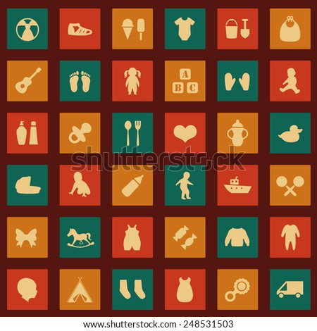 vector set baby icons, child symbol, boy and girl toys - stock vector