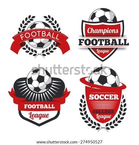 vector Set Badges logos red for football teams and tournaments, championships soccer.  isolated on white Background - stock vector