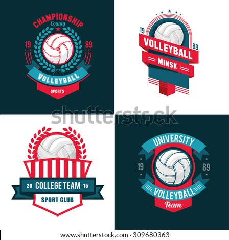 vector Set Badges logos volleyball teams and tournaments, championships volleyball. isolated on white Background - stock vector