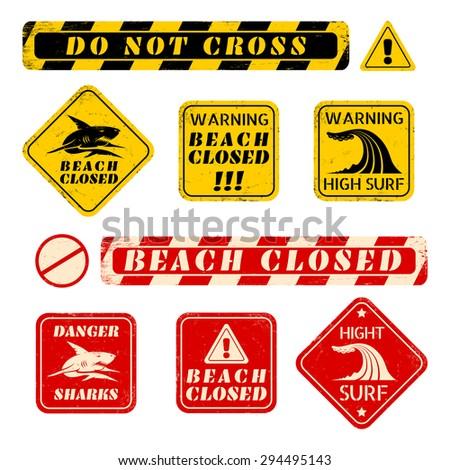 vector set beach danger signs - stock vector