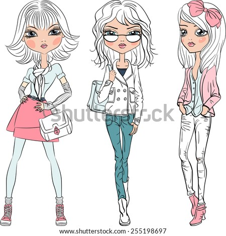 Vector set beautiful fashion hipster girls top models in jeans, glasses, shirt, boots with bags  - stock vector