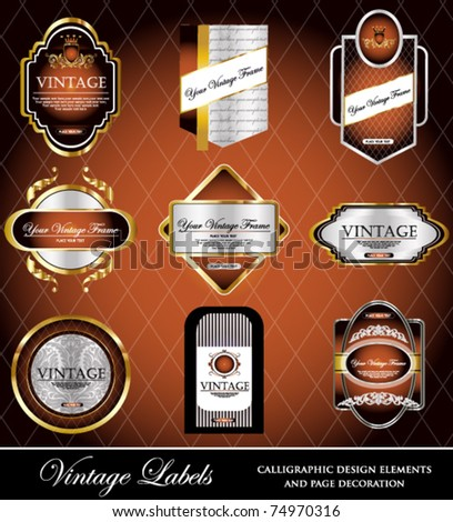 vector set: black gold-framed labels - stock vector