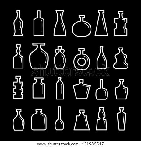 Vector set. Bottle collection - vector silhouette - stock vector