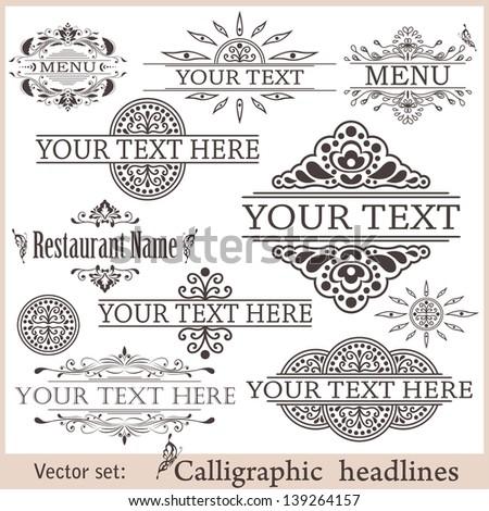 Vector set: calligraphic design elements - stock vector