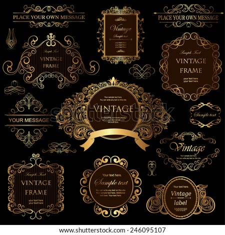 vector set: calligraphic design elements and floral frames. - stock vector
