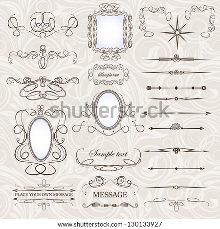 vector set: calligraphic design elements and floral frames. All objects are grouped separately. - stock vector