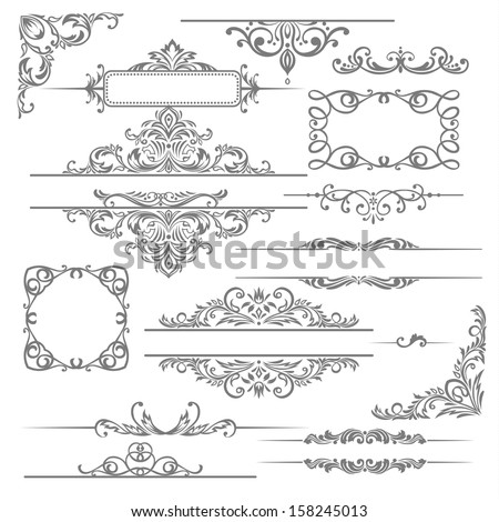 Vector set: calligraphic design elements and page decoration. - stock vector