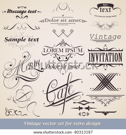 Vector set. Calligraphic design elements and page decoration for retro design. - stock vector