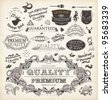 vector set: calligraphic design elements and page decoration, Premium Quality and Satisfaction Guarantee Label collection with detailed vintage floral frame and deer head - stock vector