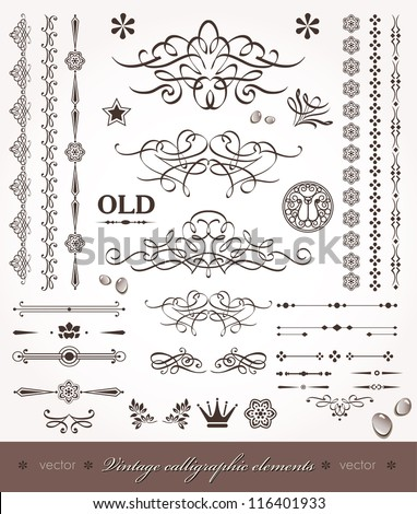 Vector set- calligraphic design elements and page decoration - set of elements for books- decorations_1 - stock vector