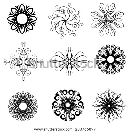 Vector set: calligraphic design elements and page decoration, Useful elements for your layout design. - stock vector