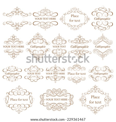 Vector set - calligraphic design elements. Vintage frames - stock vector