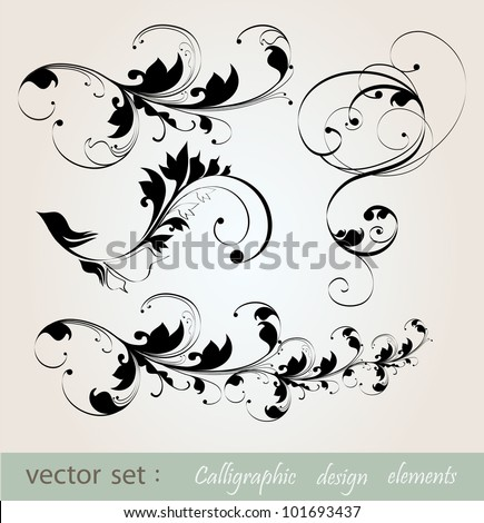 vector set: calligraphic design floral elements and page decoration . - stock vector
