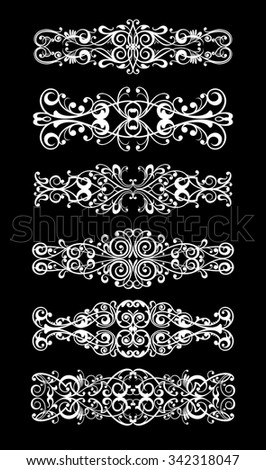 Vector set calligraphic element white and black - stock vector