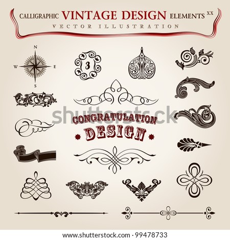 Vector set. calligraphic vintage elements and page decoration, premium quality collection with royal design - stock vector