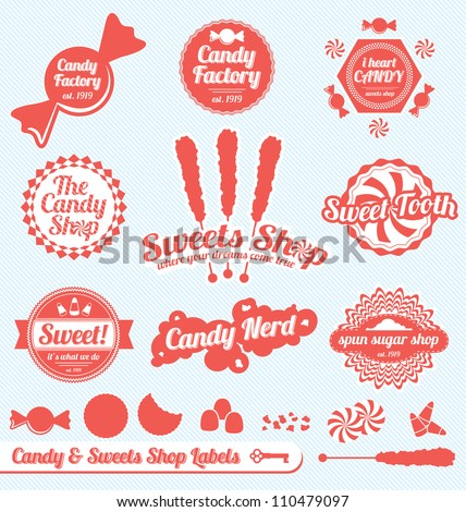 Vector Set: Candy Shop Labels and Stickers with Silhouette Graphics - stock vector
