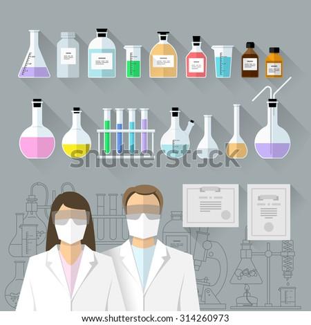 Vector set - chemical designer. Flat design The test tube, beaker, flask - stock vector