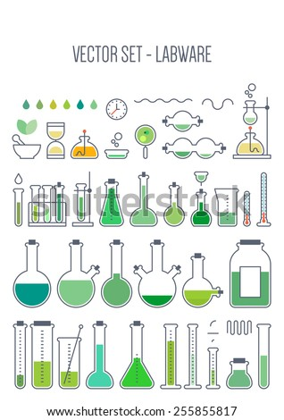 Vector set - chemical designer. Flat design. Variable thickness of lines - stock vector
