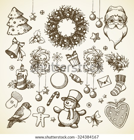 Vector set Christmas hand drawn icons, design elements, objects. Doodle illustration. Santa claus, Christmas tree, Christmas wreath, snowman, star, snowflake, gift, cookie, bell, candy, decor elements - stock vector