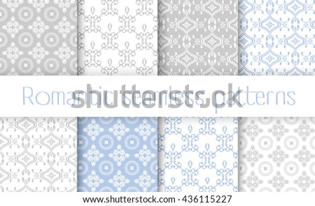 Vector set collection of romantic floral seamless pattern for decoration damask wallpaper, vintage style - stock vector
