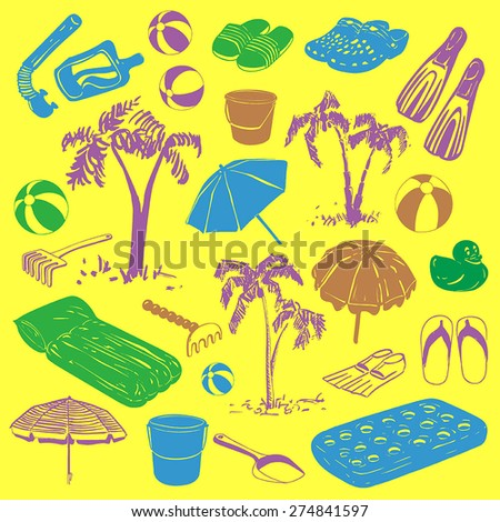 Vector set: Colorful hand drawn beach equipment - stock vector