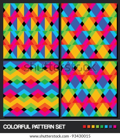 vector set (2). Colorful seamless geometric pattern background. - stock vector