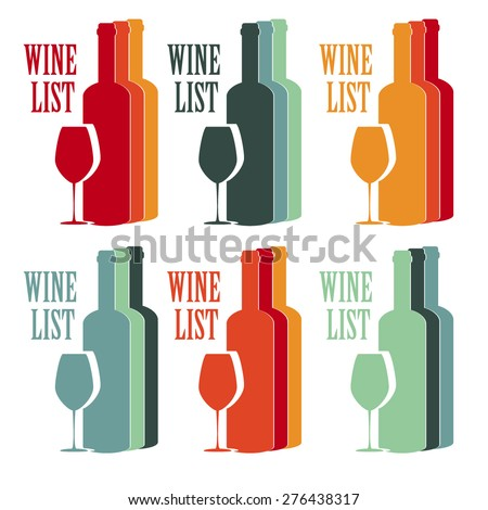 vector set concept design wine list with text, glasses and bottle in different contrast colors - stock vector