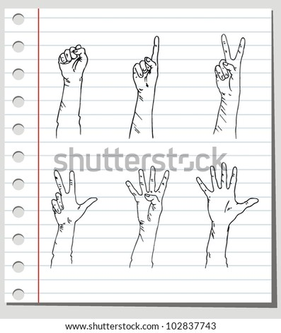 vector set counting man's hand on background - stock vector