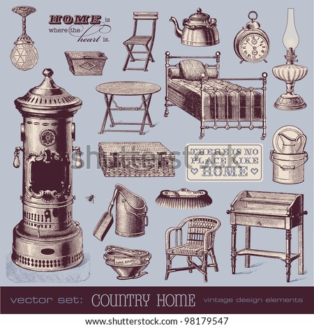 vector set: country home - vintage furniture and household objects - stock vector