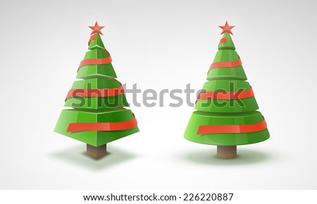 Vector set 3d Christmas tree with red ribbon, star and place for text. - stock vector