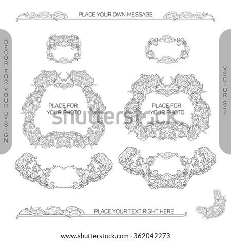 Vector set: decorative design elements to embellish your layout (border, edge, panel, divider, frame, ornament, corner, label, ribbon) - stock vector