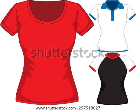 Vector set Design Template women T-shirts of different styles and color - stock vector
