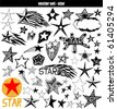 vector set - doodles - star - stock vector